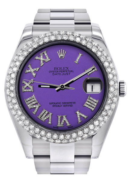 Rolex Datejust II Watch | 41 MM | Violet Roman Numeral Dial | Two Row | Oyster Band
