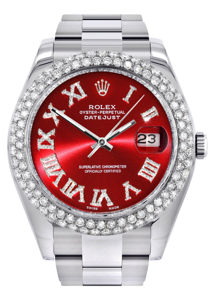 Rolex Datejust II Watch | 41 MM | Red Roman Numeral Dial | Two Row | Oyster Band