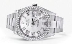 Rolex Datejust II Watch | 41 MM | White Diamond Dial | Two Row | Oyster Band