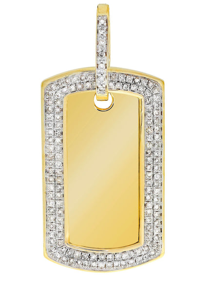 Diamond Dog Tag Pendant | 14.17 Grams | 2.17 Carats