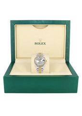 Diamond Gold Rolex Watch | Diamond Bezel | 31MM | Floral Blue Diamond Dial | Jubilee Band