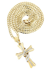 14K Yellow Gold Cross Diamond Pendant & Cuban Chain | 0.44 Carats