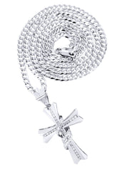 14K White Gold Cross Diamond Pendant & Cuban Chain | 0.46 Carats