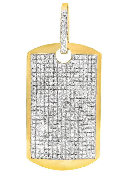 Diamond Dog Tag Pendant | 14.44 Grams | 5.16 Carats