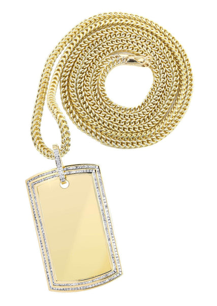 10K Yellow Gold Dog Tag Diamond Pendant & Franco Chain | 2.42 Carats