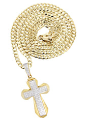 10K Yellow Gold Cross Pendant & Cuban Chain | 0.39 Carats diamond combo FrostNYC
