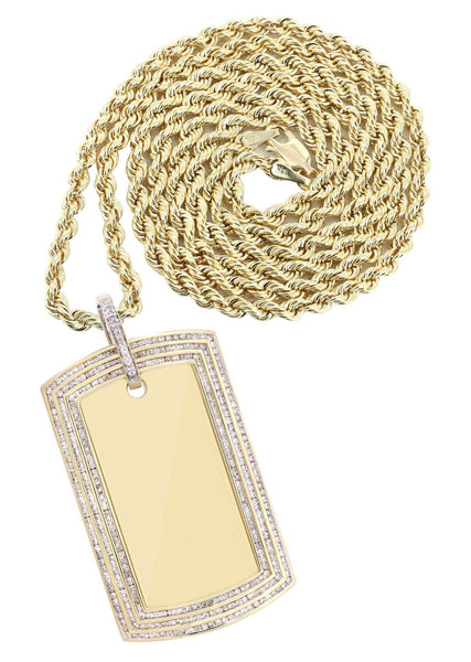 10K Yellow Gold Dog Tag Diamond Pendant & Rope Chain | 3.82 Carats