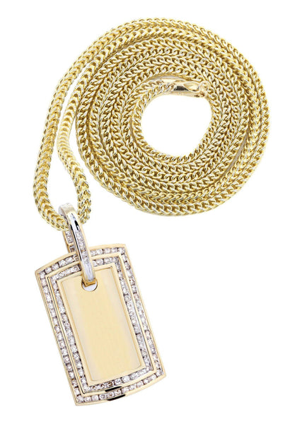 10K Yellow Gold Dog Tag Diamond Pendant & Franco Chain | 1.77 Carats