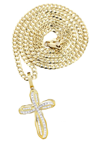 10K Yellow Gold Cross Pendant & Cuban Chain | 0.39 Carats