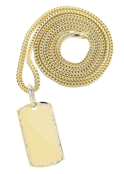 10K Yellow Gold Dog Tag Diamond Pendant & Franco Chain | 1.47 Carats
