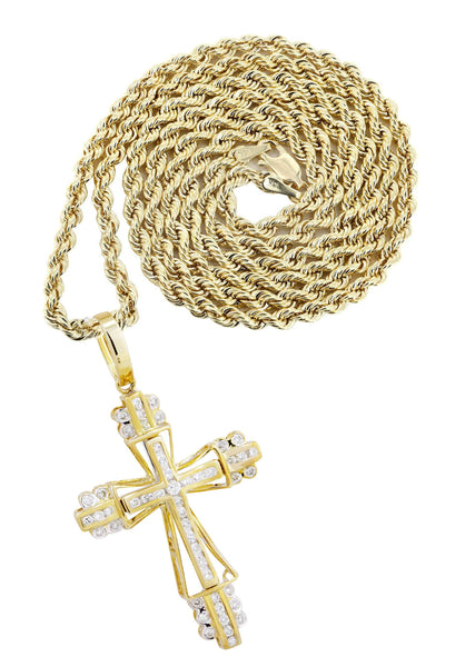 10K Yellow Gold Cross Pendant & Rope Chain | 0.62 Carats