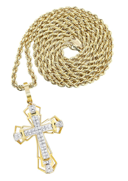 10K Yellow Gold Cross Pendant & Rope Chain | 0.26 Carats