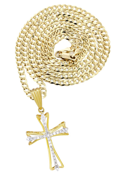 10K Yellow Gold Cross Pendant & Cuban Chain | 0.21 Carats