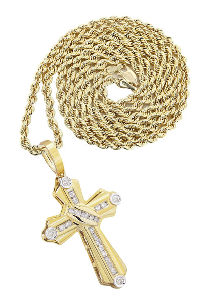10K Yellow Gold Cross Pendant & Rope Chain | 4.57 Carats