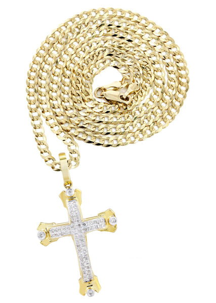 10K Yellow Gold Cross Pendant & Cuban Chain | 0.49 Carats
