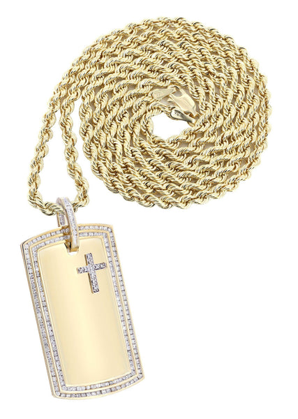10K Yellow Gold Dog Tag Diamond Pendant & Rope Chain | 3.07 Carats