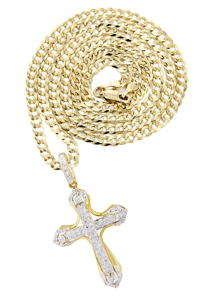 10K Yellow Gold Cross Pendant & Cuban Chain | 0.36 Carats