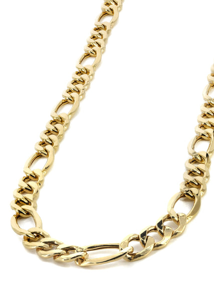 Gold Chain - Mens Hollow Figaro Chain 10K Gold