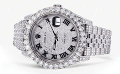 Diamond Iced Out Rolex Datejust 41 | 20.5 Carats Of Diamonds | Custom Full Diamond Roman Dial | Jubilee Band