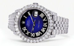 Diamond Iced Out Rolex Datejust 41 | 15.65 Carats Of Diamonds | Custom Blue Roman Diamond Dial | Jubilee Band