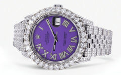 Diamond Iced Out Rolex Datejust 41 | 15.66 Carats Of Diamonds | Custom Purple Roman Diamond Dial | Jubilee Band