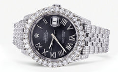Diamond Iced Out Rolex Datejust 41 | 15.68 Carats Of Diamonds | Custom Grey Roman Diamond Dial | Jubilee Band