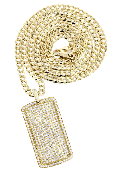 14K Yellow Gold Dog Tag Pendant & Cuban Chain | 6.52 Carats