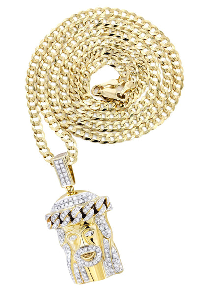 10K Yellow Gold Jesus Head Pendant & Cuban Chain | 2.78 Carats