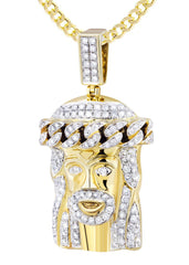 10K Yellow Gold Jesus Head Pendant & Cuban Chain | 2.78 Carats diamond combo FrostNYC