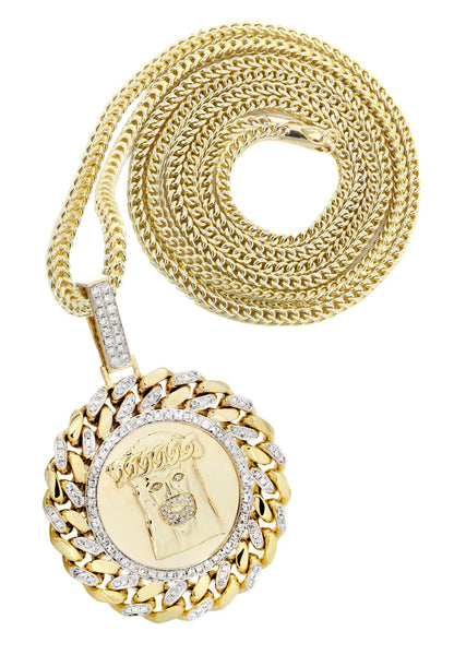 10 Yellow Gold Jesus Head Diamond Pendant &  Franco Chain | 1.8 Carats