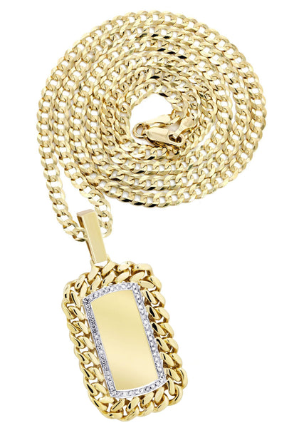 14K Yellow Gold Dog Tag Pendant & Cuban Chain | 0.87 Carats