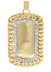 Diamond Dog Tag Pendant | 1.68 Carats| 26.54 Grams