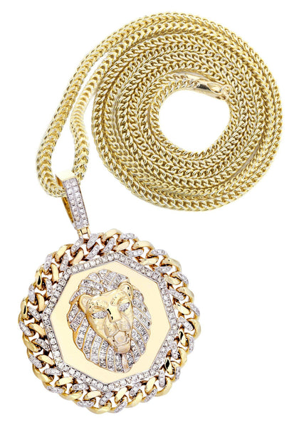 10 Yellow Gold Lion Head Diamond Pendant & Franco Chain | 2.92 Carats