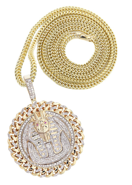 10 Yellow Gold Pharaoh Diamond Pendant & Franco Chain | 4.44 Carats