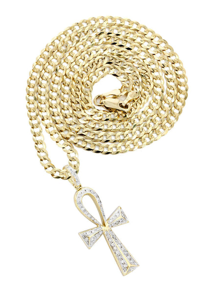 10K Yellow Gold Big Ankh Diamond Pendant & Cuban Chain | 0.45 Carats