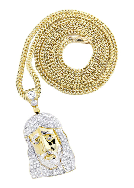 14K Yellow Gold Jesus Head Pendant & Franco Chain | 1.16 Carats