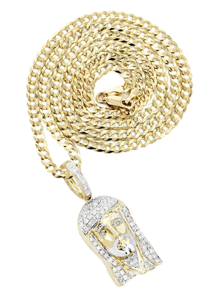 10 Yellow Gold Jesus Head Diamond Pendant & Cuban Chain | 0.56 Carats