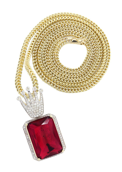 14K Yellow Gold Ruby Crown Diamond Pendant & Franco Chain | 1.14K Carats