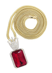 14K Yellow Gold Ruby Crown Diamond Pendant & Franco Chain | 1.14K Carats Diamond Combo FROST NYC