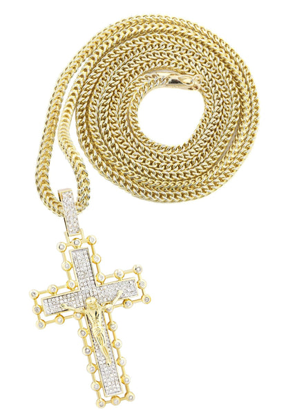 14K Yellow Gold Cross Pendant & Franco Chain | 2.65 Carats