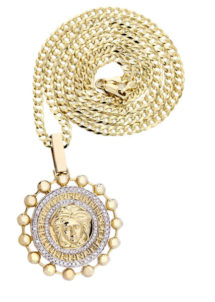 10 Yellow Gold Versace Diamond Pendant & Cuban Chain | 1.39 Carats
