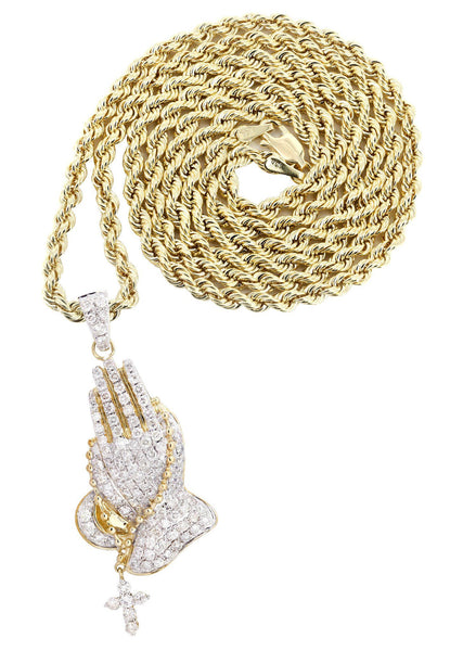 10K Yellow Gold Praying Hands Diamond Pendant & Rope Chain | 5 Carats