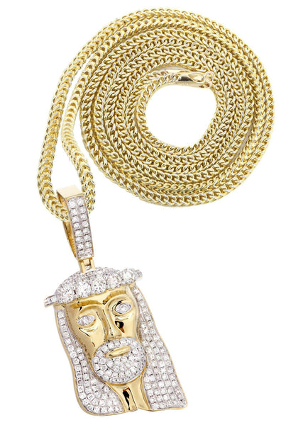 14K Yellow Gold Jesus Head Diamond Pendant & Franco Chain | 3.45 Carats