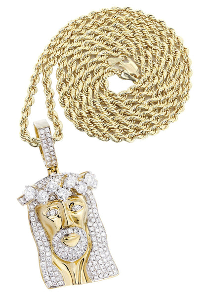 14K Yellow Gold Jesus Head Diamond Pendant & Rope Chain | 5.85 Carats