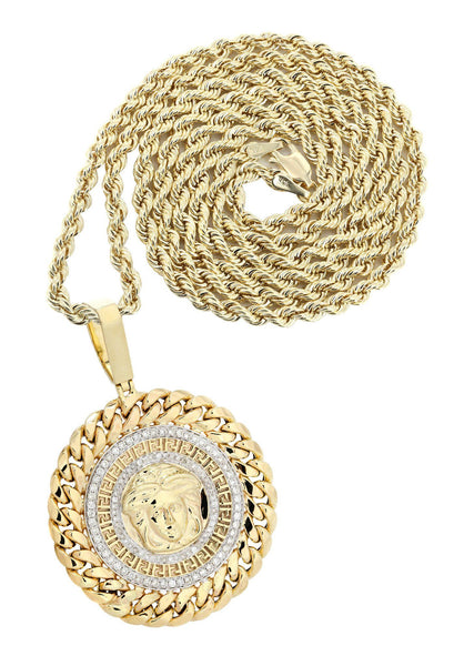 10 Yellow Gold Versace Diamond Pendant & Rope Chain | 1.36 Carats