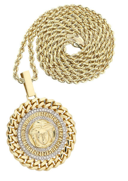 14 Yellow Gold Versace Diamond Pendant & Rope Chain | 1.44 Carats