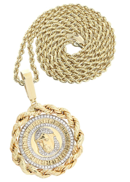 10 Yellow Gold Jesus Head Diamond Pendant &  Rope Chain | 1.7 Carats