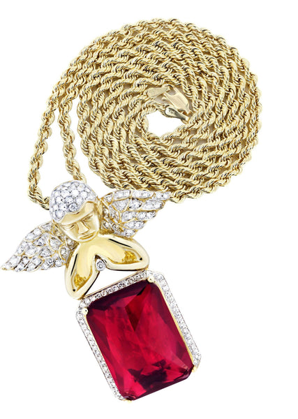 10K Yellow Gold Ruby Angel Pendant & Rope Chain | 1.6 Carats