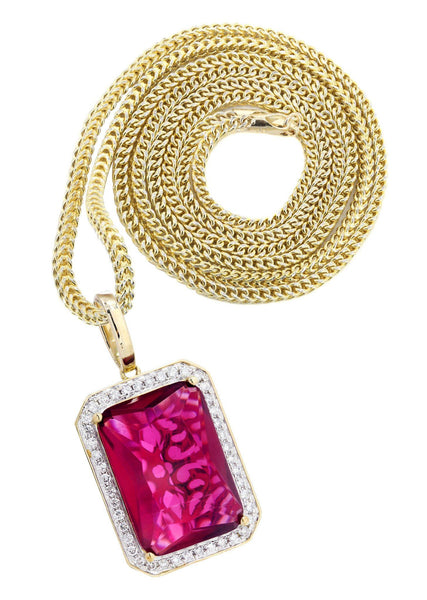 10K Yellow Gold Ruby Diamond Pendant & Franco Chain | 1.36 Carats