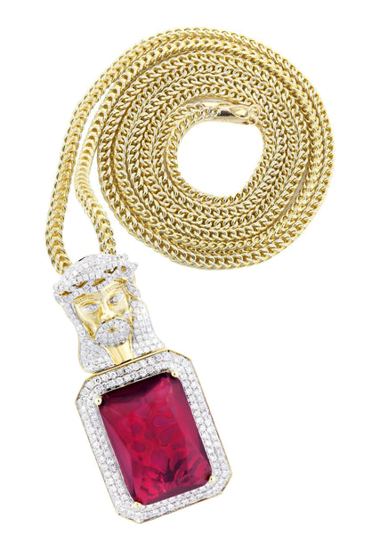 14K Yellow Gold Ruby Jesus Pendant & Franco Chain | 2.53 Carats